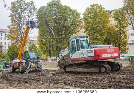 MILAN ITALY-OCTOBRE 18 2015: Construction machinery on building site of new subway line in Milan. poster