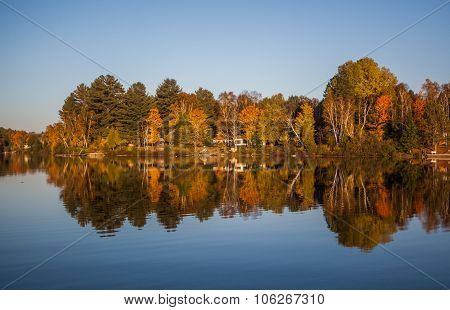 Fall forest reflection in a lake