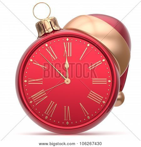 New Year's Eve clock Santa hat Christmas ball decoration bauble ornament red golden. Traditional wintertime holidays midnight hour countdown beginning time future symbol adornment poster