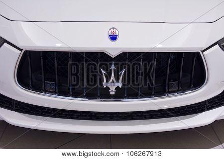 Indianapolis - Circa October 2015: Maserati Logo Close Up II