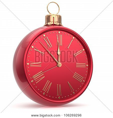Happy New Year Clock Christmas Ball Decoration Time Bauble