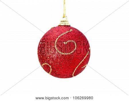 Christmas red ball with gold
