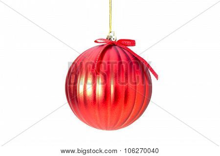 Christmas red ball with bow