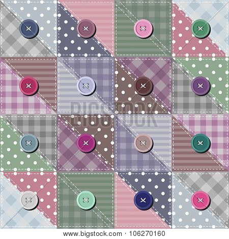 patchwork background with different patterns vector illustration poster