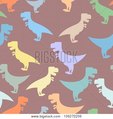 Color cute dinosaurs seamless background. Repeating pattern of Tyrannosaurus. T-rex reptile of Jurassic period. Texture for baby tissue. Ornament of prehistoric predator poster