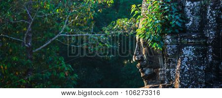 Panorama of ancient stone face of Bayon temple, Angkor, Cambodia with growing plants