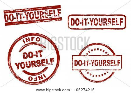 Set of stylized stamps showing the term do-it-yourself. All on white background.