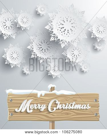 Merry Christmas Board Snowflake Background