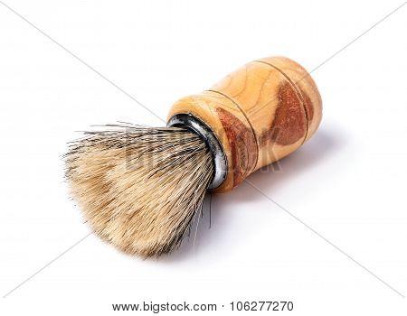 Old shaving brush isolated on white background. poster