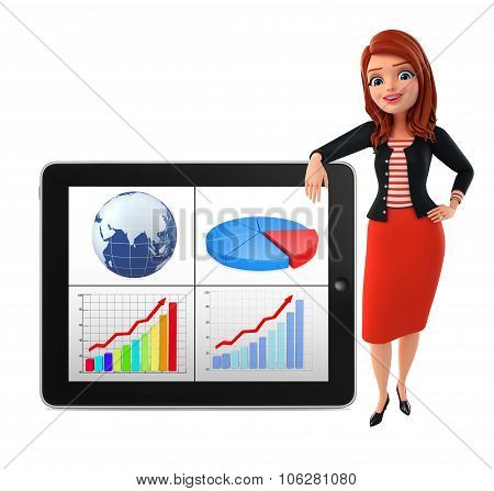 Young Corporate Lady With Business Graph