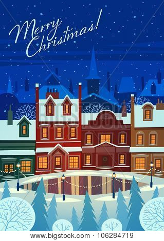 Small snowy town at holiday eve. Christmas greeting card background poster. Vector illustration.