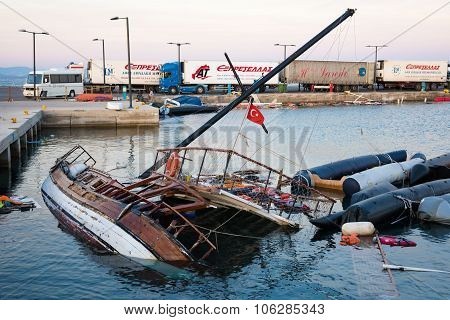 Damaged Ship And Boats In Greece