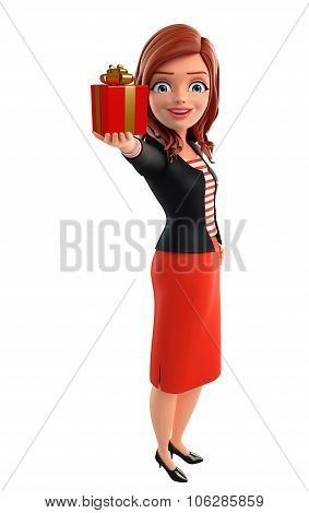 Young Corporate Lady With Gift Box