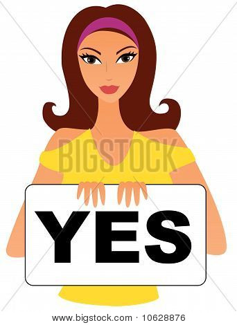 Woman with yes sign