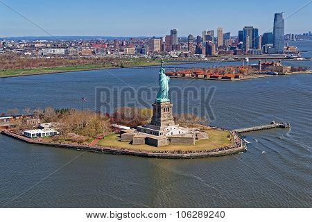 Aerial View Of The Statue Of Liberty In New York