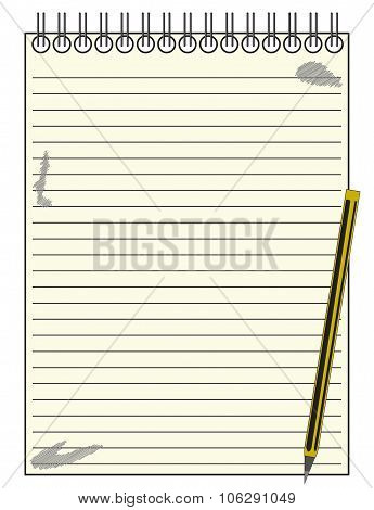 Lined Reporter Notepad With Pencil