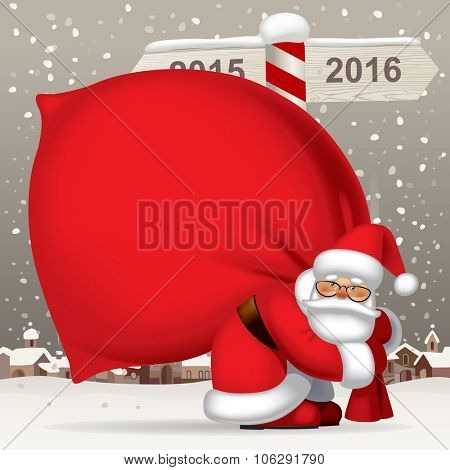 Santa Claus carrying a big red sack full of gifts against the winter landscape with a wooden sign showing the way to 2016. Vector illustration