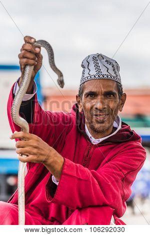Marrakesh, Morocco - Circa September 2015 - Snake Charmer On Dje