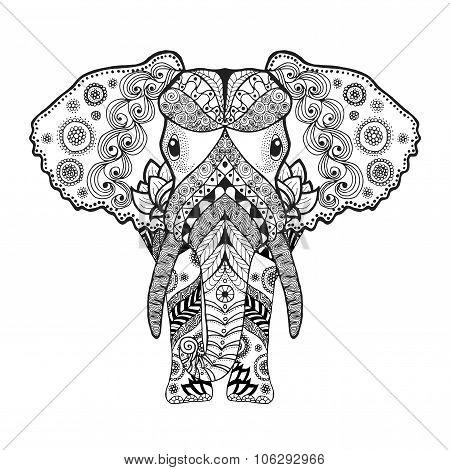 Zentangle stylized elephant.