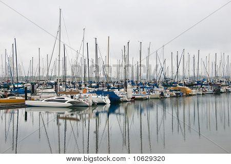 Mirror Reflection of Sailboats