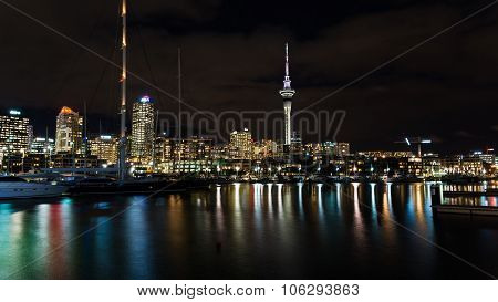 Auckland, New Zealand - Circa May 2014 - Auckland Skyline At Nig