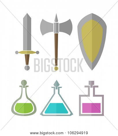 Vector set of simple elements for RPG games, weapon and vials