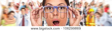 Beautiful woman eyes with eyeglasses. Optician banner background.