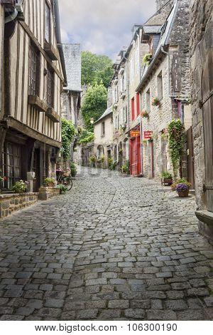 Cobbled Street In Dinan, France