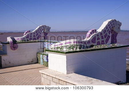 seahorses in lilac and white