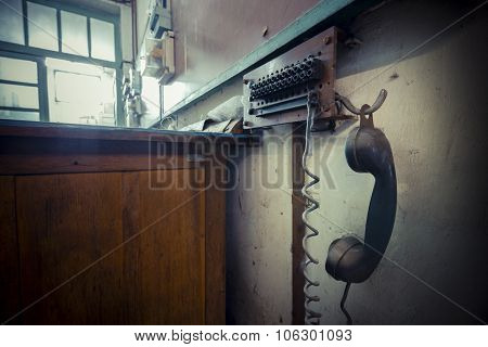 Old Landline Phone In An Abandoned Factory