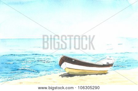 boat on the shore watercolour