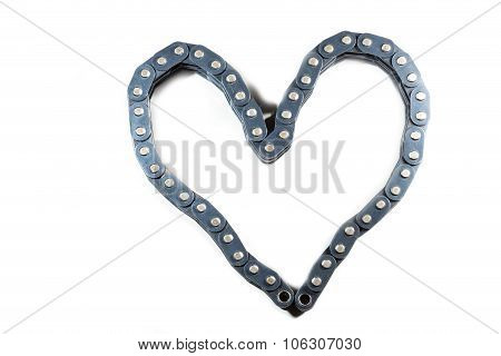 The articulated chain drive ISO 606 GOST 13568 DIN 8187 realistic look. Is folded into the shape of a heart. poster