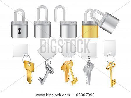 Padlocks With Keys And Keychains