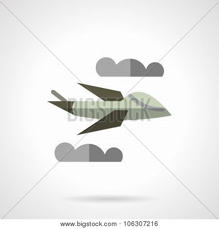 Military robots and drones. Unmanned airplane flying in a sky. Flat color style vector icon. Single design elements for website, mobile and business. poster