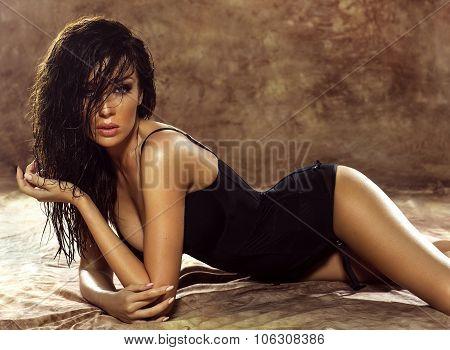 Sensual Brunette Lady Posing In Lingerie.