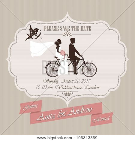 Wedding invitation, tandem bicycle