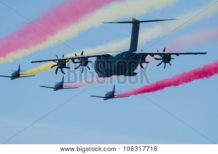 Airbus A400M Escorted By Fighter Squad