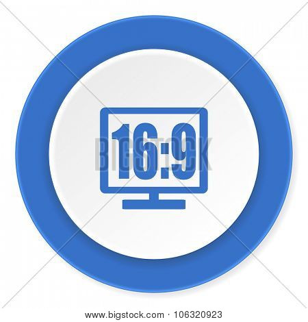 16 9 display blue circle 3d modern design flat icon on white background