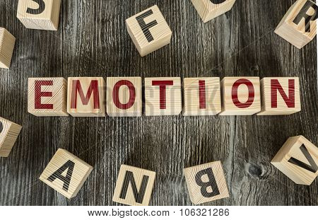Wooden Blocks with the text: Emotion