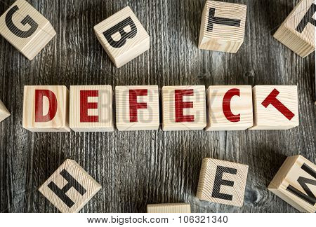 Wooden Blocks with the text: Defect