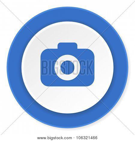 photo camera blue circle 3d modern design flat icon on white background