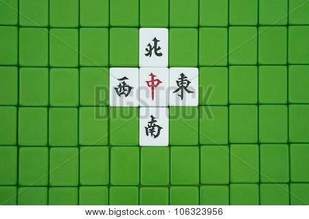 Mah Jong Bricks, The Chinese On The Bricks Means East, South, West, North And Center, They Refer To