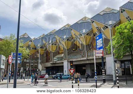 Rotterdam, Netherlands - May 9, 2015: Tourist Visit Cube Houses The Iconic In Rotterdam