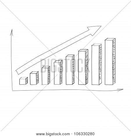 Graph Bar Hand Draw Icon Vector