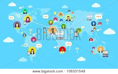 Social Media Communication World Map Concept Internet Network Connection