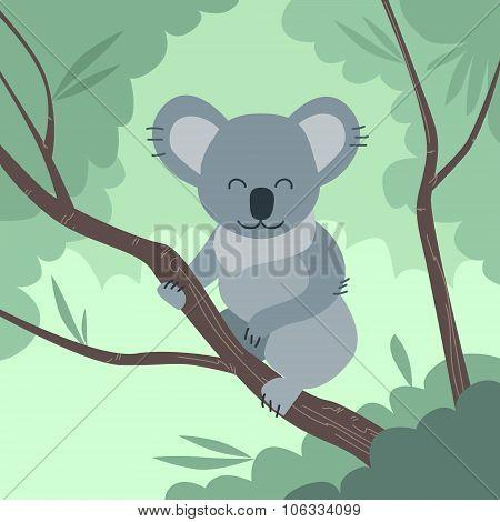 Koala Bear Jungle Tree Flat Vector