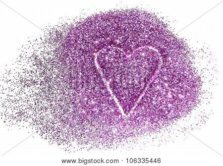 Abstract heart of purple glitter sparkle on white background