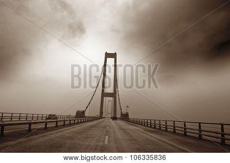 Bridge Between Fyn And Seeland In Denmark. Great Belt Bridge