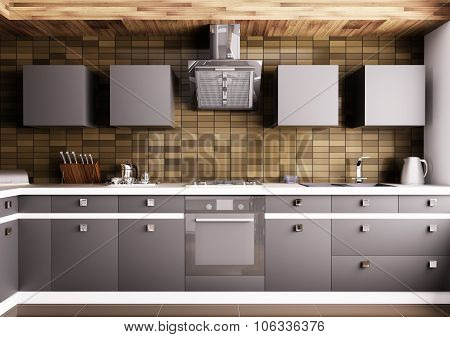Modern Kitchen Interior 3d rendering