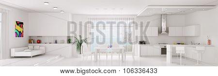 Interior Of White Apartment Panorama 3d rendering
